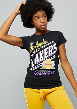 NBA Los Angeles Lakers Black Retro Checkered Print Fitted Tee