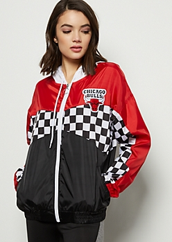 NBA Chicago Bulls Red Colorblock Checkered Print Windbreaker