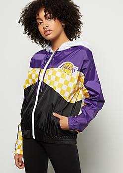 NBA Los Angeles Lakers Purple Checkered Print Windbreaker