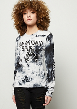 NBA San Antonio Spurs Black Tie Dye Graphic Tee