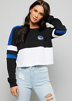 NBA Golden State Warriors Black Varsity Striped Skimmer Sweatshirt