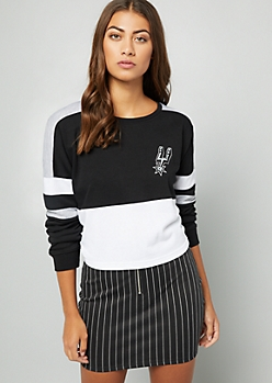 NBA San Antonio Spurs Black Varsity Striped Skimmer Sweatshirt