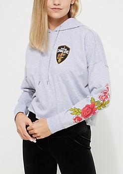 Cleveland Cavaliers Floral Print Cropped Hoodie