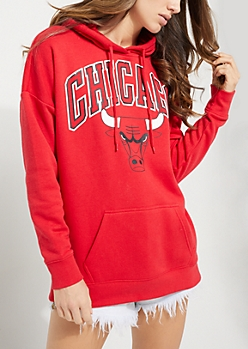 Chicago Bulls Drop Shoulder Fleece Hoodie
