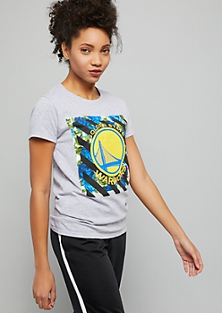 NBA Golden State Warriors Gray Striped Floral Print Graphic Tee