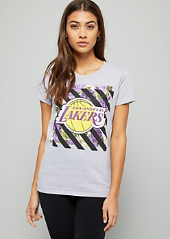 NBA Los Angeles Lakers Gray Striped Floral Print Graphic Tee