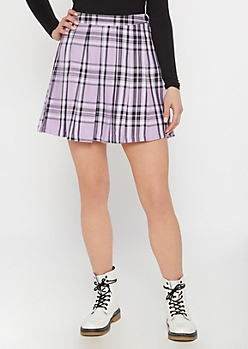 Purple Plaid Print Pleated Mini Skirt