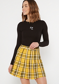 Yellow Plaid Print Pleated Mini Skirt