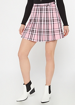 Pink Plaid Print Pleated Mini Skirt