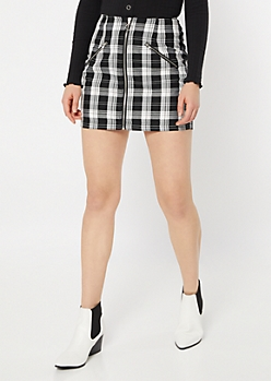 Black Plaid Print Ring Zip Mini Skirt