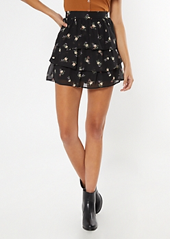 Black Floral Print Layered Ruffle Skirt