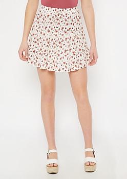 Ivory Floral Print Ruffle Skirt
