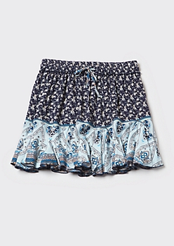 Blue Border Print Ruffle Skirt