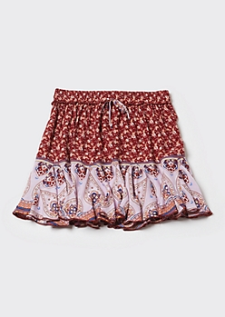 Pink Border Print Ruffle Skirt