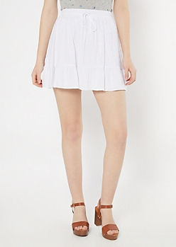 White Ruffled Daisy Eyelet Skirt