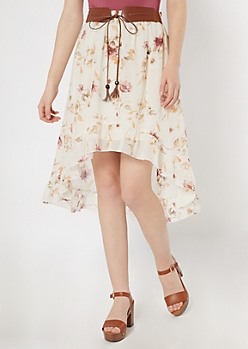 Ivory Floral Print High Low Belted Ruffle Skirt