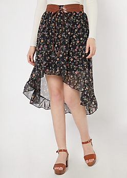 Black Floral Print High Low Belted Ruffle Skirt