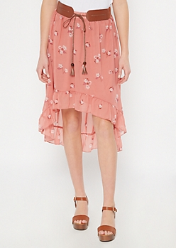 Dusty Pink Floral Print High Low Belted Ruffle Skirt