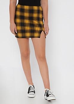 Yellow Plaid Thigh Slit Mini Skirt