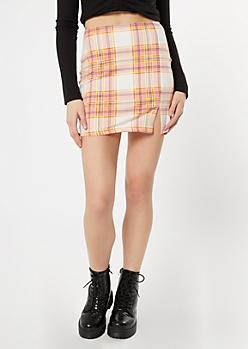Pink Plaid Print Super Soft Thigh Slit Mini Skirt