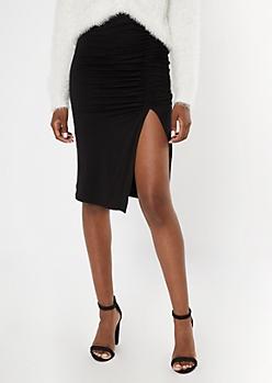 Black Ruched Side Slit Midi Skirt