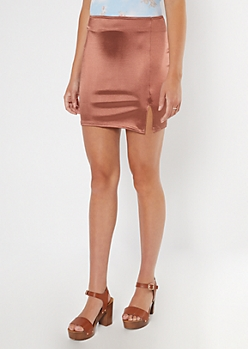 Rose Gold Metallic Side Slit Bodycon Mini Skirt