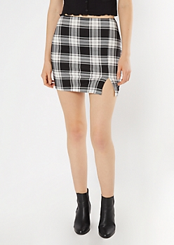 Black Plaid Super Soft Stretch Mini Skirt