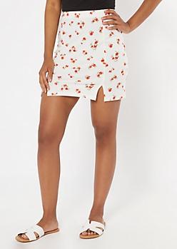 White Ditsy Floral Print Slit Hem Skirt