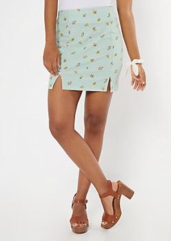 Mint Ditsy Floral Print Slit Hem Skirt