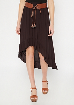 Black High Low Belted Ruffle Skirt
