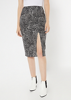 Black Dotted Satin Midi Skirt