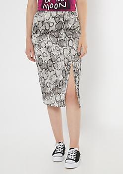 Snakeskin Print Satin Midi Skirt