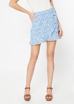 Blue Floral Print Lettuce Hem Wrap Skirt