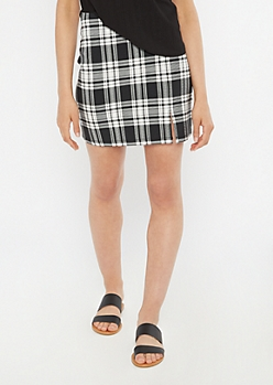 Black Plaid Knit Thigh Slit Mini Skirt