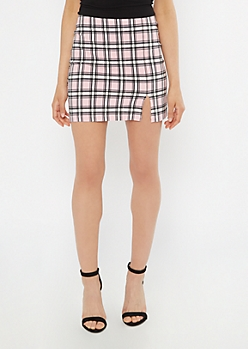 Pink Plaid Thigh Slit Mini Skirt