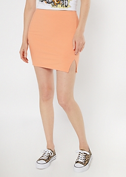 Orange Ribbed Slit Mini Skirt