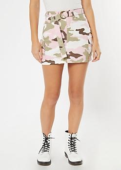 Pink Camo Print Cargo Mini Skirt