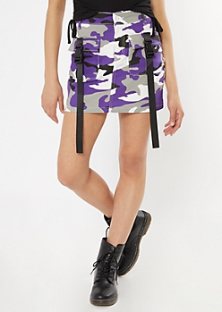 Purple Camo Print Seatbelt Strap Cargo Mini Skirt