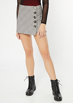 Black Plaid Print Side Button Skort