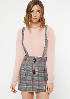 Pink Plaid Print Zip Front Overall Dress
