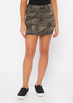 Camo Print Cargo Skirt