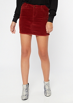 Burgundy Corduroy Raw Edge Mini Skirt