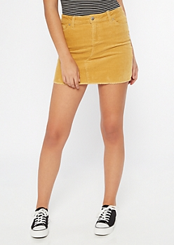 Mustard Corduroy Raw Edge Mini Skirt