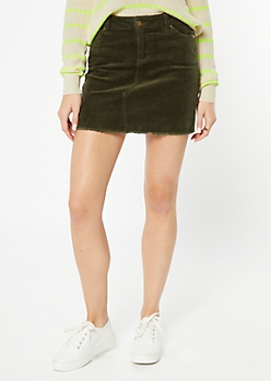 Olive Corduroy Raw Edge Mini Skirt