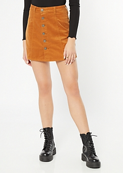 YMI Mustard Corduroy Button Front Mini Skirt