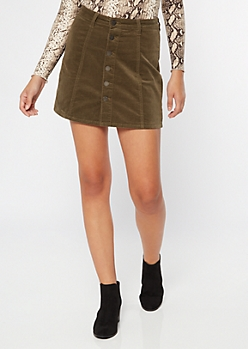 YMI Olive Corduroy Button Front Mini Skirt