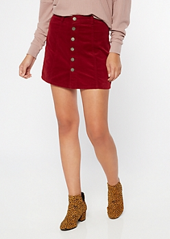 YMI Red Corduroy Button Front Mini Skirt