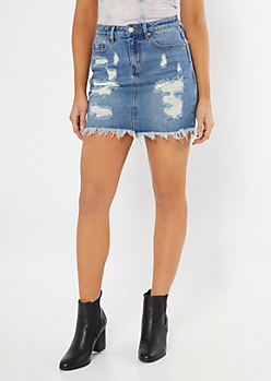 Throwback Medium Wash Distressed Jean Skirt
