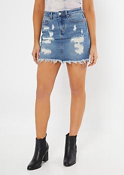 Throwback Medium Wash Distressed Jean Skirt
