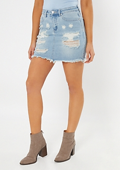 Throwback Light Wash Distressed Frayed Jean Skirt